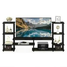 78 in. Entertainment Center Fits TVs Up to 50 in. w/ Open Storage, Espresso Wood