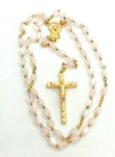 Blush Pink Mother-of-Pearl Italian Rosary Beads, Made in Italy, Stamped Italy