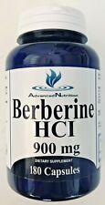 Berberine HCI 900mg 180 Caps Depression Cholesterol Heart Health USA Gluten Free
