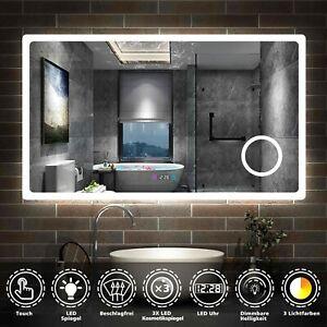BAD SPIEGEL LED Badezimmerspiegel Touch Beschlagfrei Uhr Makeup Lichtspiegel