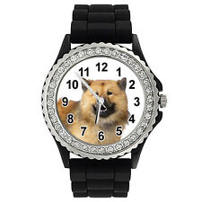 Eurasier Eurasian Dog Crystal Rhinestone Mens Ladies Jelly Silicone Watch Sg296P