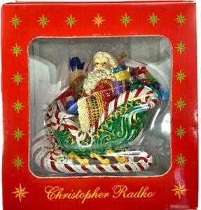 Christopher Radko Candy Ride Santa in Sleigh II Ornament Box Christmas Decor #1