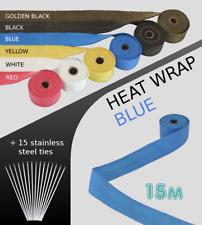 UNIVERSAL CAR BIKE EXHAUST HEAT WRAP with ties-15 METRE BLUE 15M-BLU-VXL2