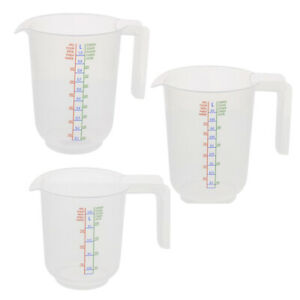 3er Set Messbecher Kunststoff Meßkanne Meßbecher 3-teilig 1000 ml 500 ml 250 ml