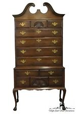 KINDEL Grand Rapids 38″ Chippendale Mahogany Pediment Top Highboy