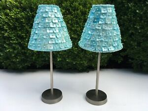"""12"""" PAIR TURQUOISE SHELL & PEARL SHADE VOTIVES WITH BRUSHED METAL STAND~NEW!(#E)"""