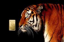 """1,0 Gramm Feingold Motiv-Karte """"Tiger"""" Goldbarren Gold 999,9 Barren Geschenkidee"""
