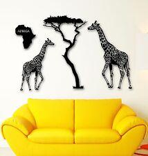 Wall Stickers Vinyl Decal Giraffe Savanna Africa Animals Tree (ig959)