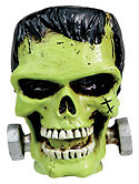 Frankenstein small  SKULL cool rat rod Soild resin wicked green figurine