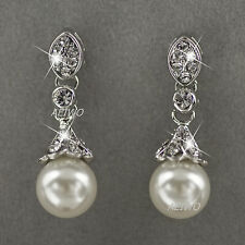 18K WHITE GOLD FILLED CLEAR CRYSTAL IMITATION PEARL WEDDING PARTY STUD EARRINGS