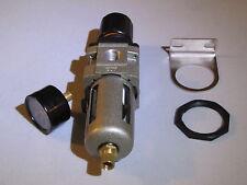 "NEW 3/8"" Compressed Air Filter/ Pressure Regulator combo W/gauge, bracket & nut"