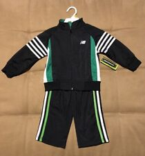 New Balance NB Toddler Boys 2 Piece Track Suit Size 2T/3T Black Green White NEW