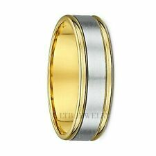 14k Two Tone Gold Mens Wedding Band Ring 6mm