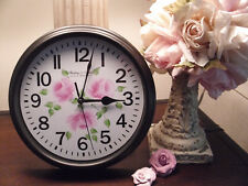 CHIC HAND PAINTED PINK ROSES ROUND BLACK WALL CLOCK BATTERY OPERATED