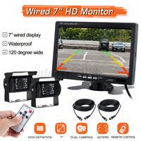 7inch HD Waterproof LCD Car Rear View Monitor Backup Camera for Truck RV  @ L