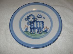 "Vintage  M A Hadley Lamb 8.75"" Dessert Plate, American Pottery"