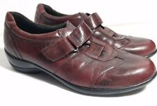 Clarks Everyday Women's Shoes Velcro Burgandy 8 M Bicycle Toe Showoff Leather