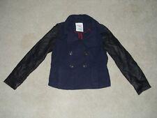AEROPOSTALE Women's Blue Wool Peacoat Jacket Pea Coat W/ Faux Leather Sleeves