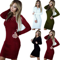 Women Winter Knitted Sweater Jumper Dress Long Sleeve Party Mini Dresses Bodycon