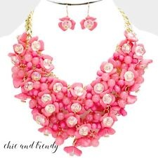 CLEARANCE PINK CHUNKY FLOWER FASHION NECKLACE JEWELRY SET