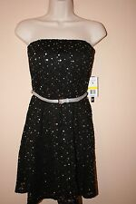 NWT As you wish, formal prom dress  strapless black & silver sequin sz M