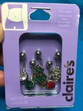 Claire's Christmas Tree Snowflake Belly Rings Set Five Stainless Steel 14 Gauge