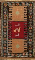 Tribal Kilim Sumak Geometric Oriental Area Rug Hand-Woven Traditional Carpet 4x6