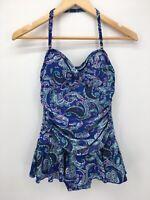 Shore Shapes Womens Swim Dress Blue 8 Halter Ruched Paisley One Piece Suit
