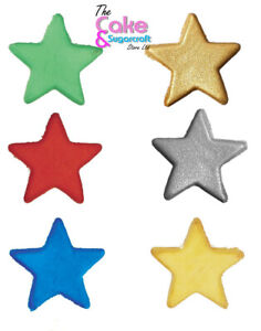 12 Edible Sugar Stars Cake Decorations Toppers Many Colours Cupcakes Fab Quality