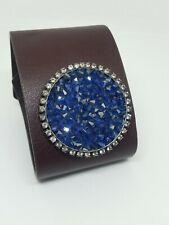 Cluster Crystals Wide Bracelet Liz Palacios Brown Leather