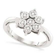 Sterling Silver Diamond Ring .925 Illusion-Set White Diamond Cluster Ring .05ct