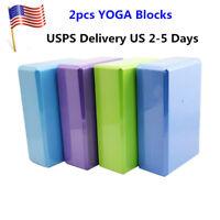 2Pcs Exercise Fitness Yoga Blocks Foam Bolster Pillow Cushion EVA Gym Training