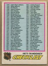 1977-78, O-PEE-CHEE, Hockey, #'s 181-290, includes error cards, UPick from list