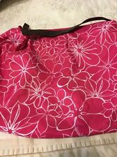 Neiman Marcus Hobo Bag Tote Signature Pink Floral Leather Strap and Zipper Pull