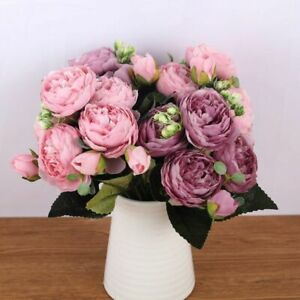 Fake Flowers Rose Pink Silk Bouquet Peony Artificial Flower Wedding Decoration