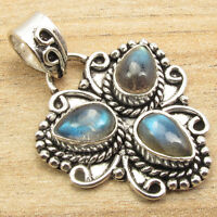 CHRISTMAS Pendant, Blue Fire 3 Gemset LABRADORITE Silver Plated UNISEX Jewelry