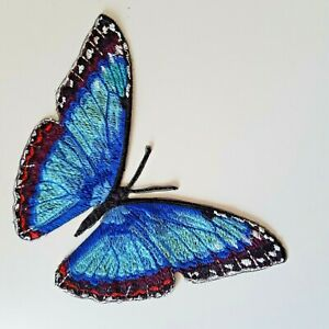 Blue Morpho Butterfly Handmade Embroidered Patch