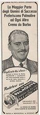 Pubblicità epoca 1938 PALMOLIVE CREMA BARBA UOMO advertising werbung publicitè