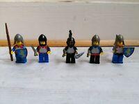 Ancien lot de 5 soldats chevalier complet LEGO médiéval chateau vintage année 70