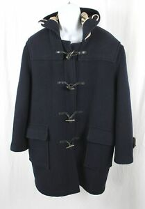 Burberry London Men's Navy Blue Wool Nova Check Lined Hooded Duffel Coat Sz 48R