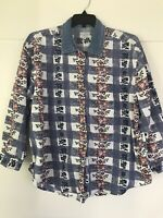 Vintage 90's Shirt Womens Floral Denim Collar Button Down Long Sleeve Size 18W