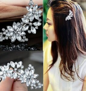Fake Crystal Diamante Flower Hair Clip Pin Comb Bride Bridesmaid Grip Slide v6
