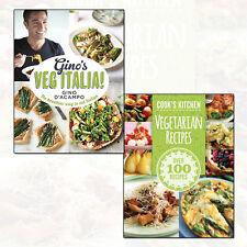 Vegetarian and Gino's Veg Italia! 2 Books Collection Pack Set NEW Hardcover UK