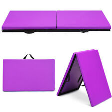 """6'x2'x1.5"""" Gymnastics Mat Thick Two Folding Panel Gym Fitness Exercise Purple"""