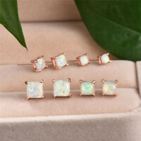 4/5/6/7MM Mystic White Fire Opal Stud Earrings Rose Gold Filled Square Earrings