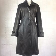 Guess Womens Trench Coat Small Genuine Leather Black Long Button Down Lined