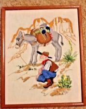 Vintage Needlework sampler crewel Embroidery Gold Prospector Western Cowboy