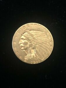 1911 $2.5 Indian Head Gold Coin.! AU.!