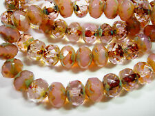 25 8x6mm Pink Opal/Crystal Travertine Czech Glass Fire polished Rondelle beads