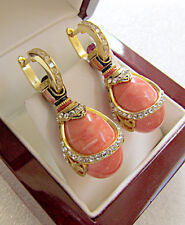 SALE ! OUTSTANDING EARRINGS MADE OF STERLING SILVER 925 & 24K GOLD GENUINE CORAL